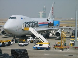 Cargolux aircraft being loaded at Hong Kong International Airport